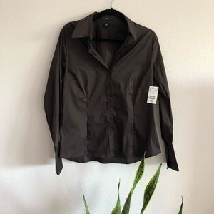 NWT brown collared button down work blouse
